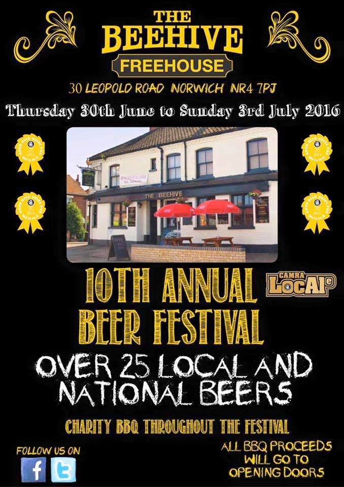 The 10th Beehive Pub Norwich Beer Festival 2016 | Thusday 30th June to Sunday 3rd July 2016