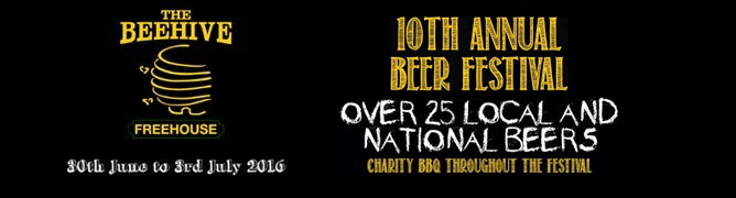 The Beehive Pub Norwich Beer Festival 2016 | Thusday 30th June to Sunday 3rd July 2016