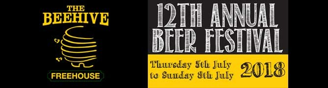 The 12th Beehive Pub Norwich Beer Festival 2018 | Thusday 5th to Sunday 8th July 2018